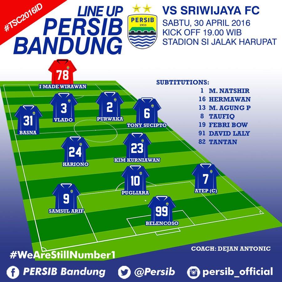 """Persib Bandung Vs Borneo Fc: PERSIB On Twitter: """"Line Up #PERSIB Vs Sriwijaya FC"""