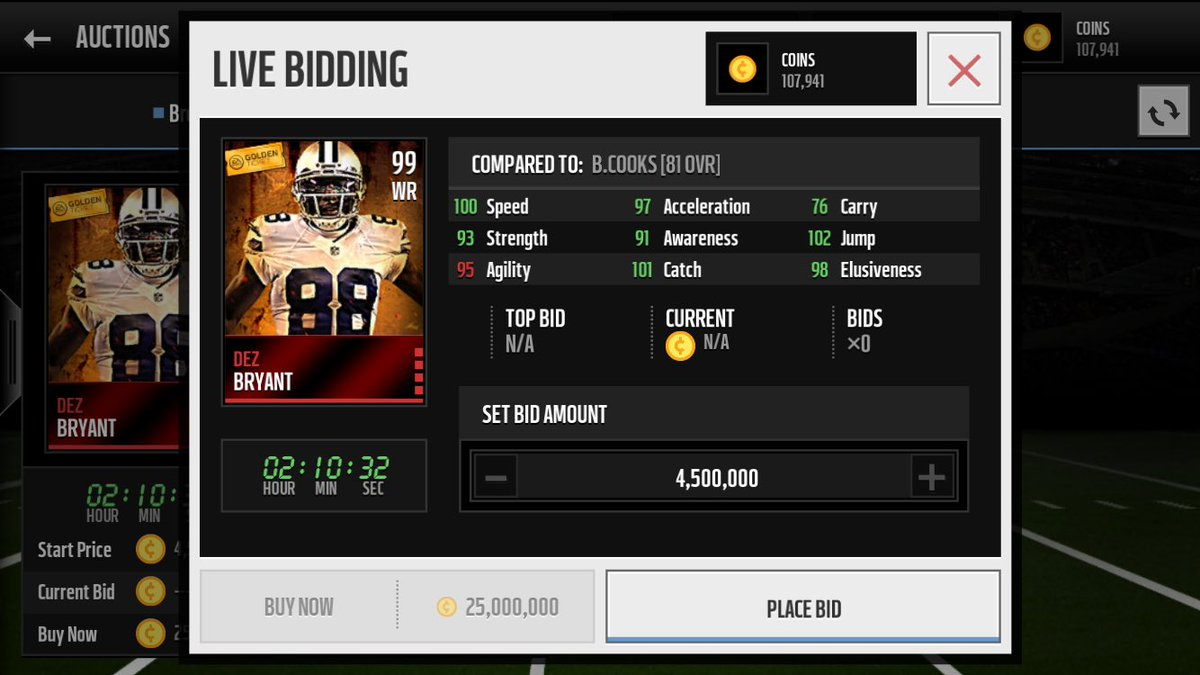 Madden Daily On Twitter 99 Golden Ticket Dez Bryant Stats