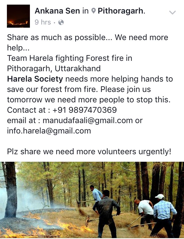 Help douse the fire and restore life to the forests of #Uttarakhand. Pls RT. https://t.co/IPAuQNXwXo