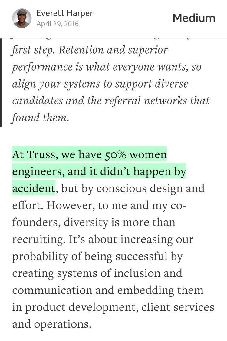 """At Truss, we have 50% women engineers, and it didn't happen by accident"" — @everettharper https://t.co/P4o4YFslcv https://t.co/bQGFdRVlA5"