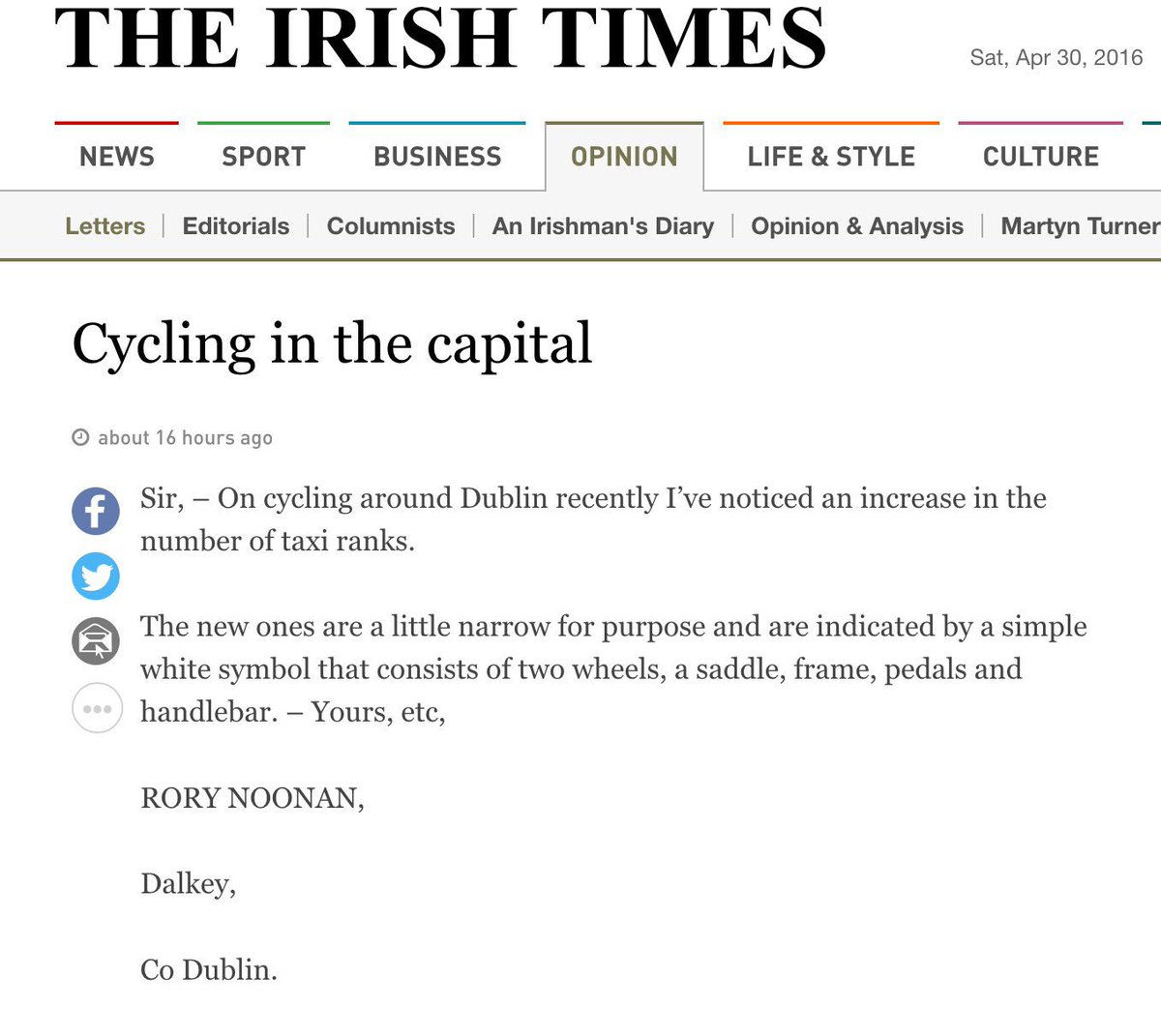 Dublin Cycling On Twitter Freethecyclelanes Themed Letter In