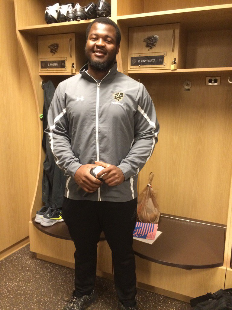 Congratulations!...@umbisons David Onyemata first Bison drafted into NFL!...New Orleans selects @ACES_E #gobisons https://t.co/rZ4mhXgZTi