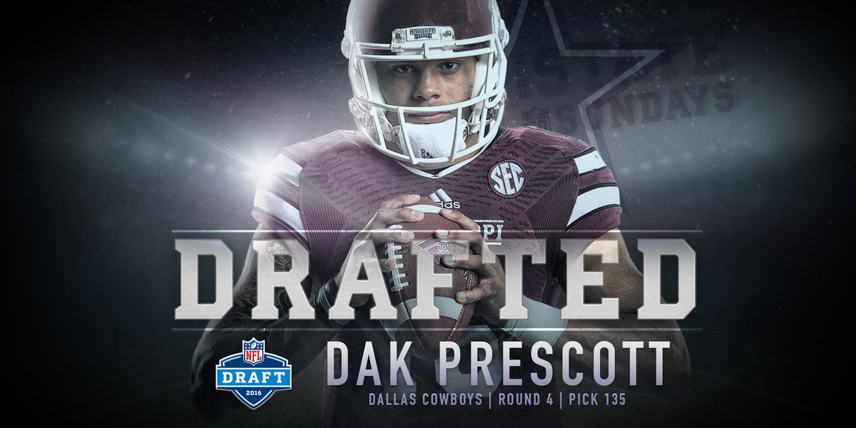With the 135th overall pick in #NFLDraft (Round 4), @dallascowboys select @15_DakP! #FromStateToSundays #HailState https://t.co/hHr37UyZHT