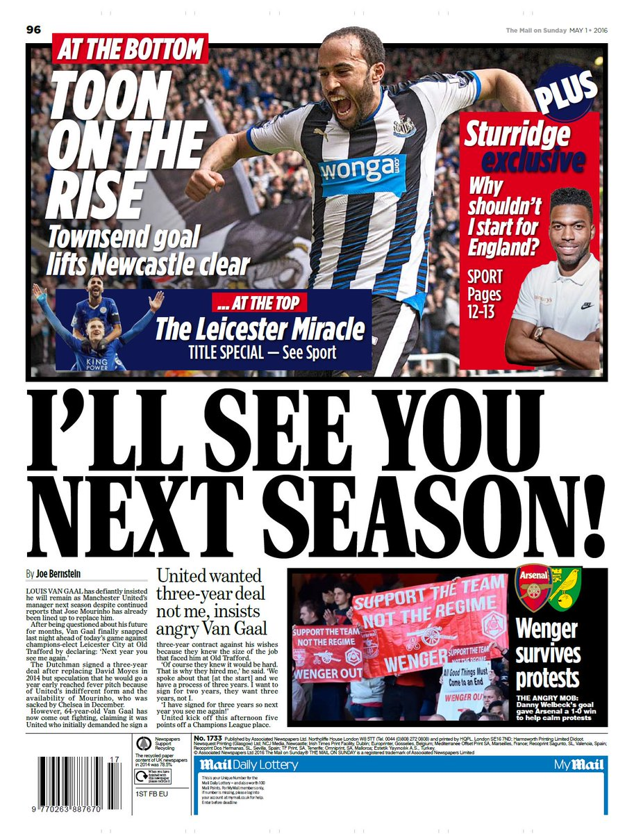 Mail on sunday back page: i'll see you next season! # ...