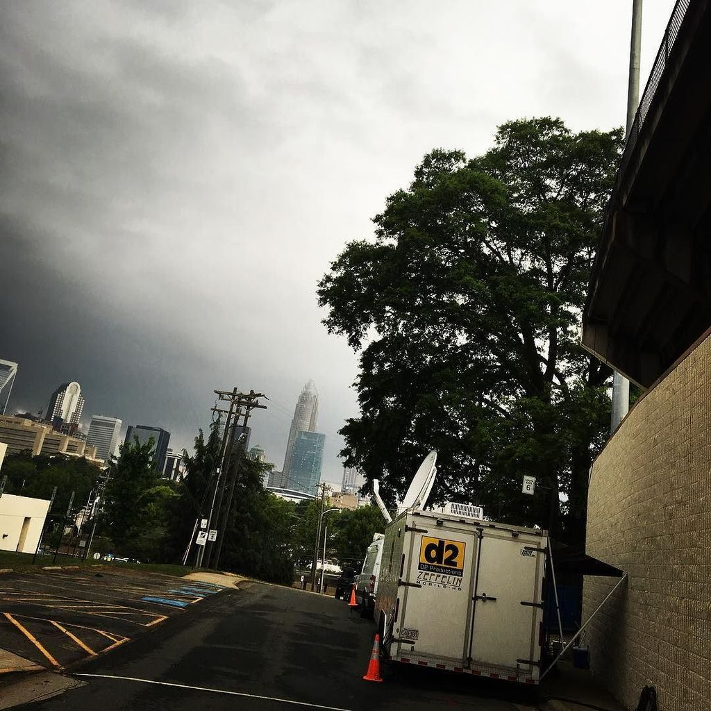 The clouds looked #ominous over #Charlotte NC during setup, and it was only a matter of time before the skies opene…