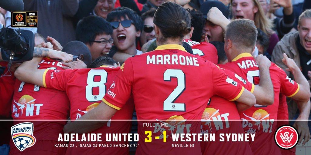 FT | #AUFC 3-1 Western Sydney. We've done it. We are @ALeague Champions. Come On You Reds! #ADLvWSW #ALeagueGF https://t.co/bJI9p3g48Z