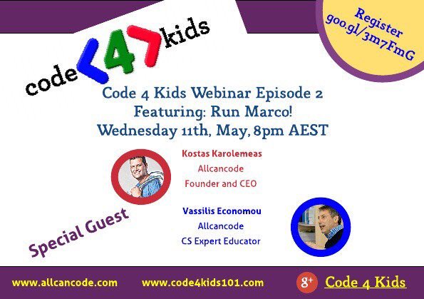 Don't forget to sign up for the next #code4kids webinar with @allcancode #aussieED #TTPlay #edtechchat @CodeClubAus https://t.co/uiUoA1OlUV