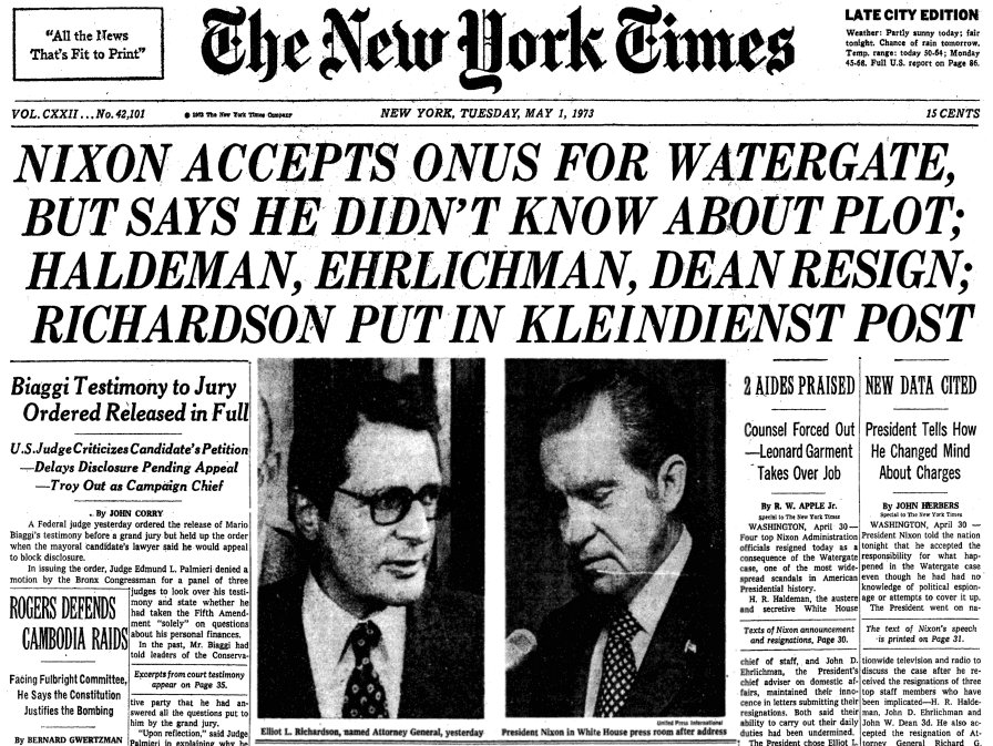 Nixon takes responsibility for Watergate but denies any personal involvement. #nytimes https://t.co/guuzOfINfI""