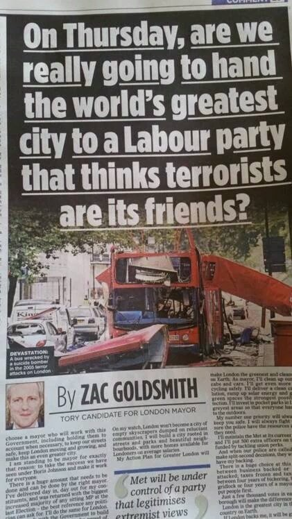 Playing on people's fear is the oldest trick in the Racist Handbook @ZacGoldsmith. You used to be okay #true colours https://t.co/pGawbJPCP7