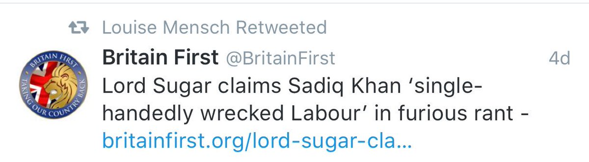 Just Louise Mensch retweeting fascist org Britain First. Would be embarrassing if we all retweeted this. Ahem. https://t.co/5fOHuuCSPN