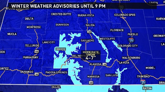 Hazardous travel expected in the southern mountains today. @9News 9wx