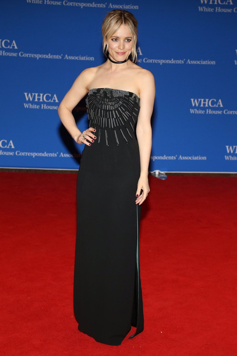 #RachelMcAdams in a strapless #GiorgioArmani gown at the White House Correspondents' Dinner in Washington D.C. #WHCD