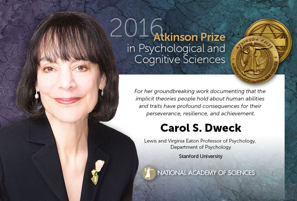 via @theNASciences: Kudos to Carol S. Dweck @StanfordPsych, 2016 Atkinson Prize winner! https://t.co/WfGHUkb5vA #growthmindset #MindsetPlay