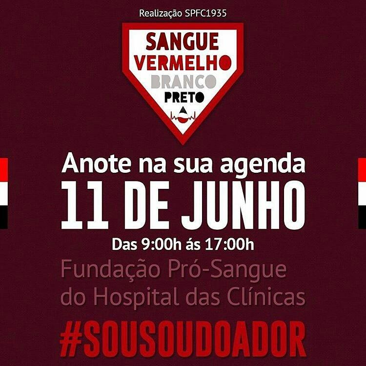 9ª Campanha Sangue Vermelho Branco e Preto. Chame os amigos, família, namorada (o) e venha participar! #SouSouDoador https://t.co/W2gW52mZHe