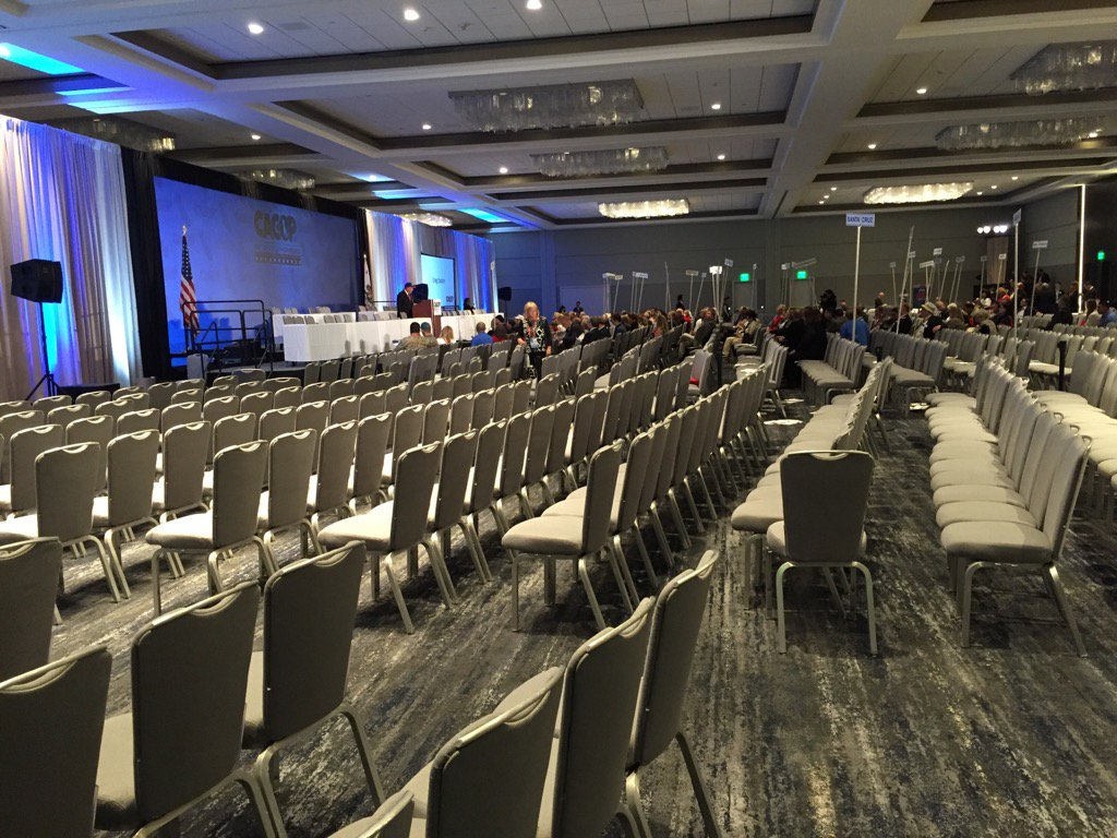 There were lots of empty seats at the California Republican Party convention when Senate candidates spoke on Sunday. (Phil Willon / Los Angeles Times)