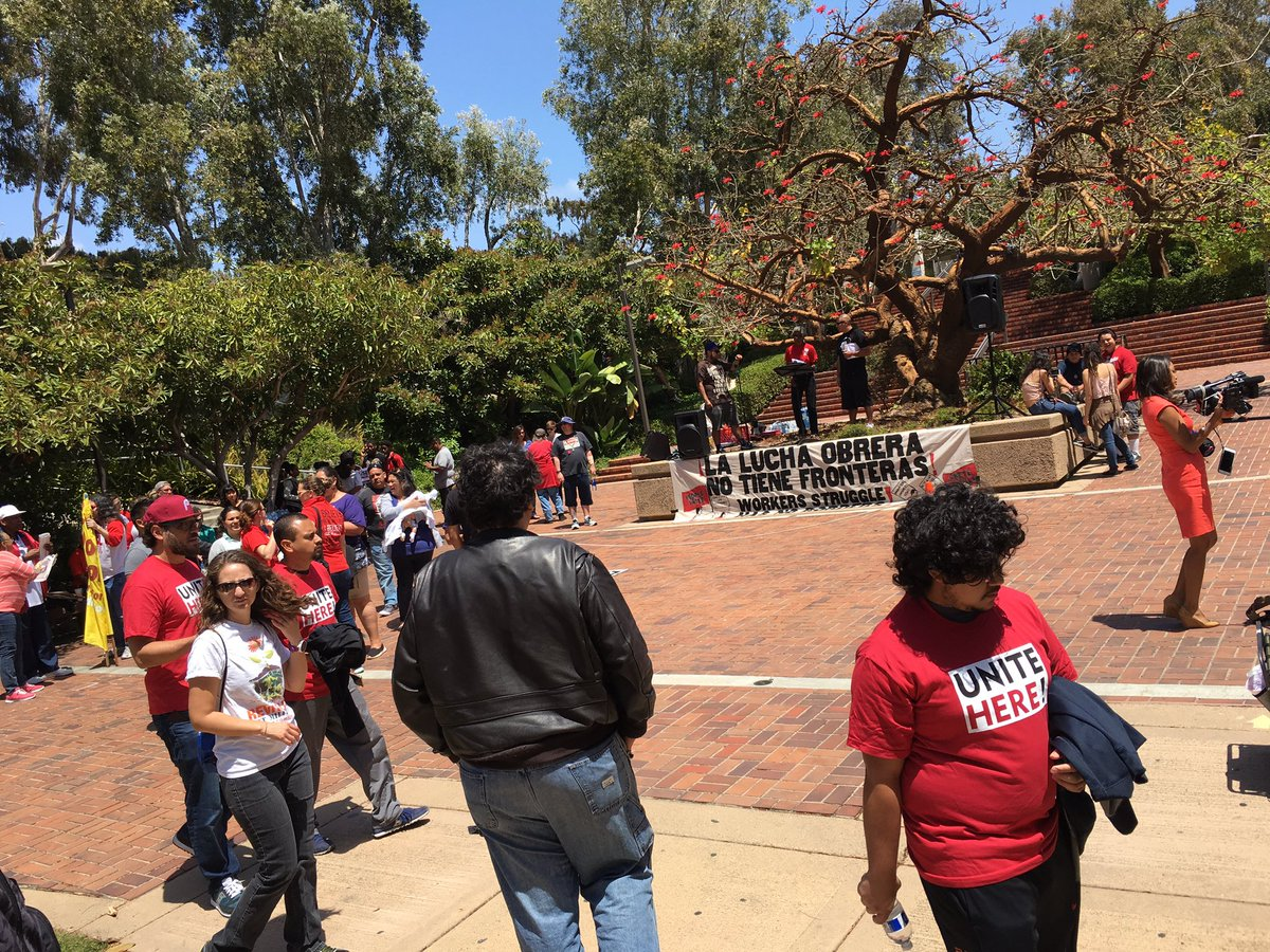 Groups gather to mark May Day at City College.