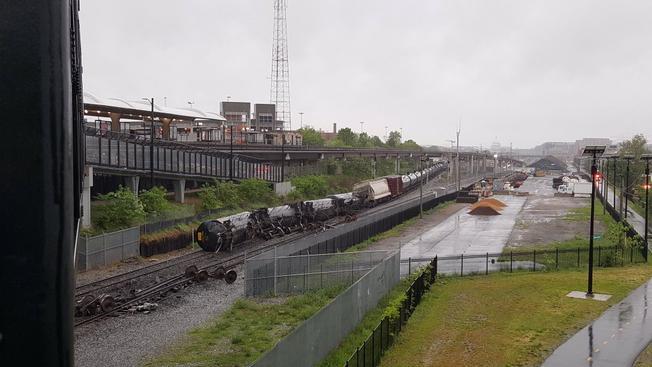 Train car leaks chemicals after derailment in D.C.