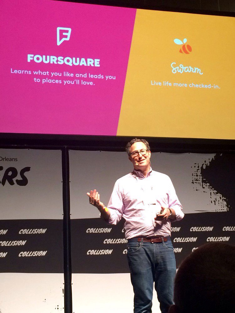 """Love @JeffGlueck """"The places you go are the best indicators of what you love"""" @foursquare @dens #CollisionConf https://t.co/qfipXw6hRf"""