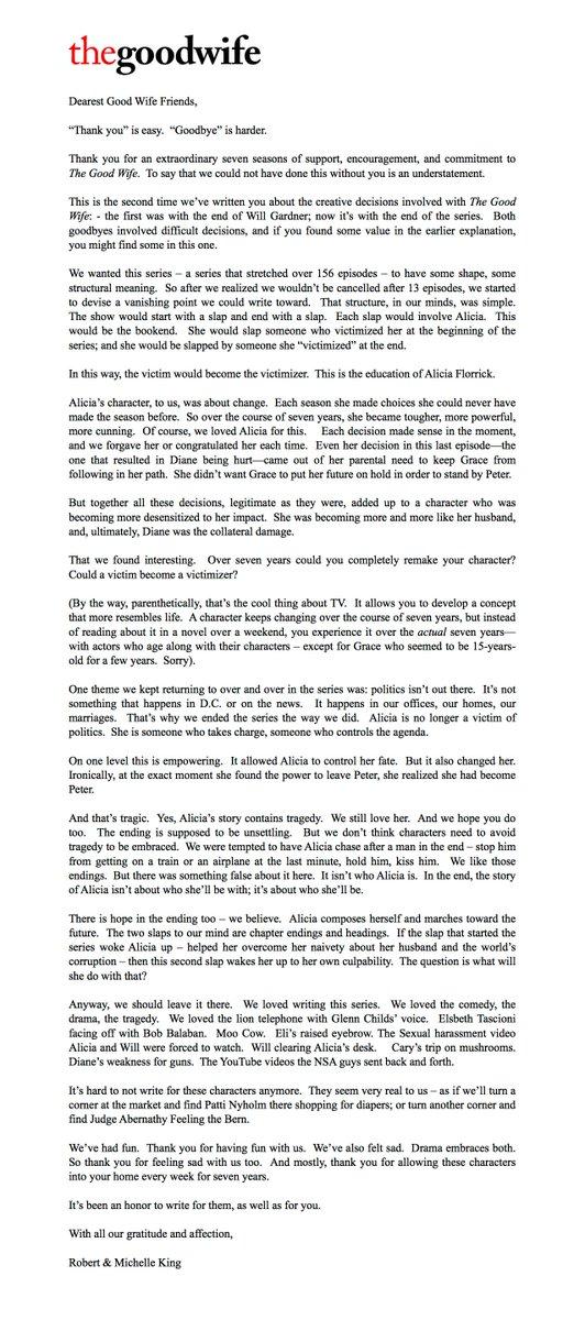 [SPOILER] #TheGoodWife creators thank fans & explain the series finale in this letter. https://t.co/EtYg5bhSDP https://t.co/Bt4z7YRXEG