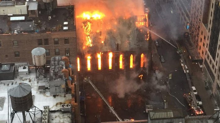 Flames engulf historic church in New York City