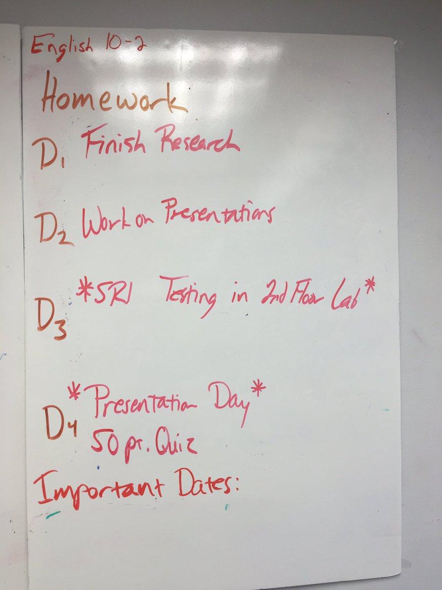 hw schedules