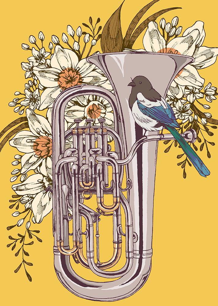 楽器シリーズの新作その2 ユーフォニアムにカササギ https://t.co/uDcAfDwrEG