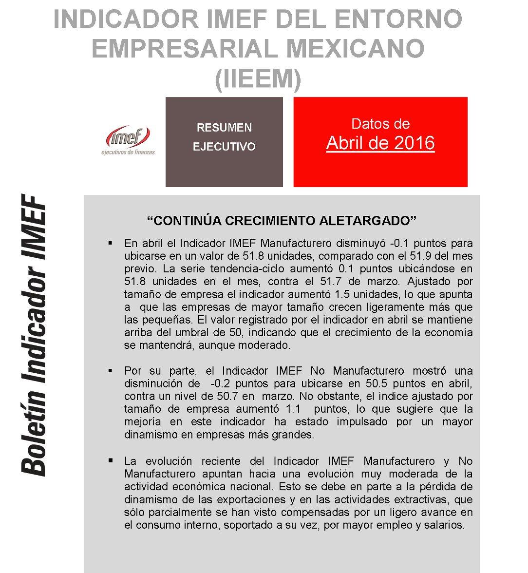 """""""Continúa crecimiento aletargado"""", resultados del #IndicadorIMEF en abril: https://t.co/mLO4G75PZP https://t.co/1hh0NCYjhg"""