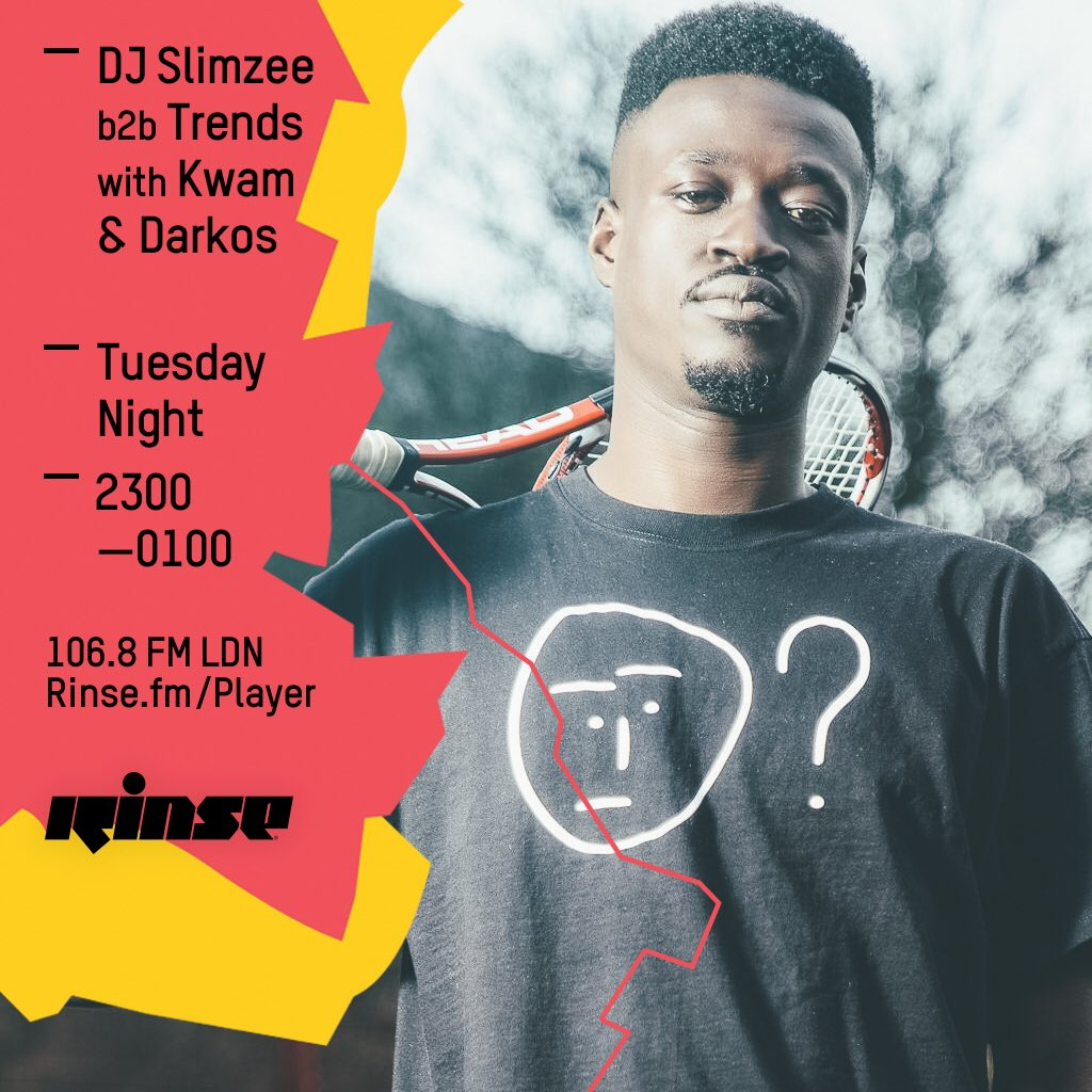 Tomorrow evening I'm joining @dj_slimzee and @TrendsDj_ on @RinseFM with @Darkos_Strife