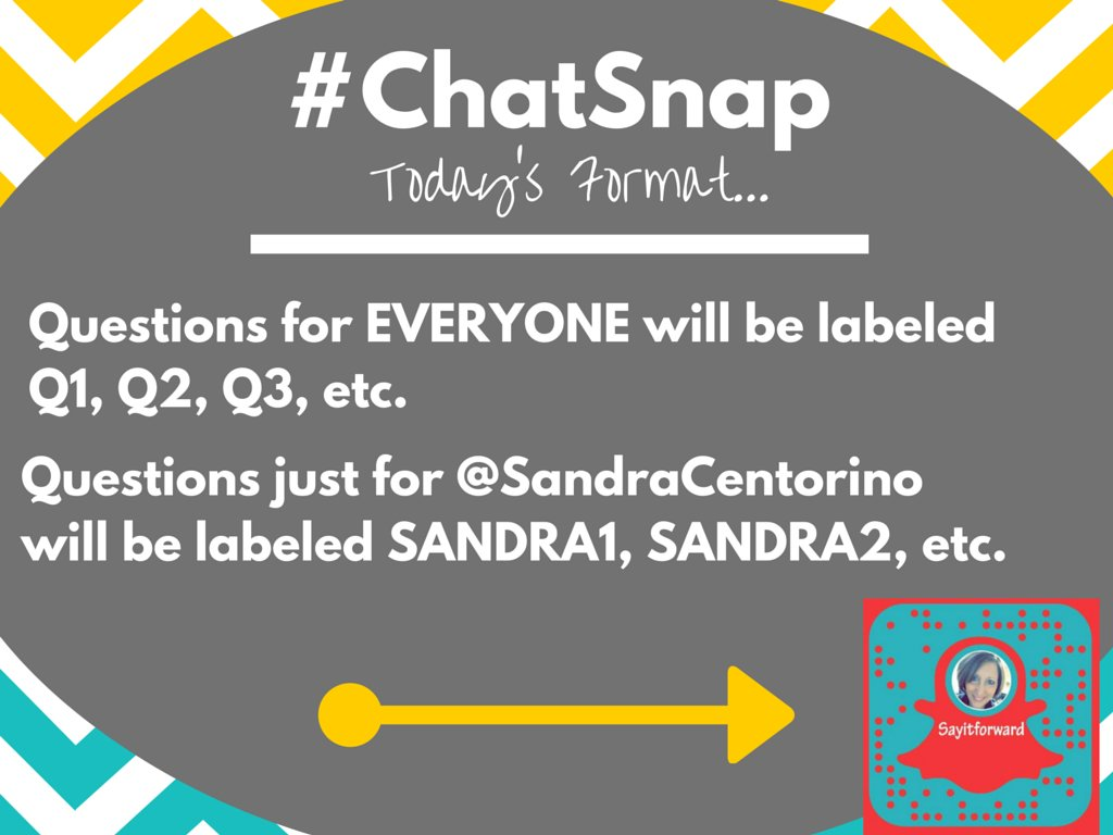 PLEASE READ-Reply w/YOUR answers to the questions for everyone Also watch for @SandraCentorino's answers! #ChatSnap https://t.co/S5tA5Oddl4
