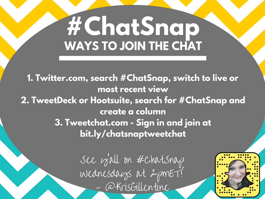 Want to join #ChatSnap but not sure how? Here are a few ways! (I use @TweetDeck.) See y'all in 30 min! https://t.co/fNX0KCUIWd