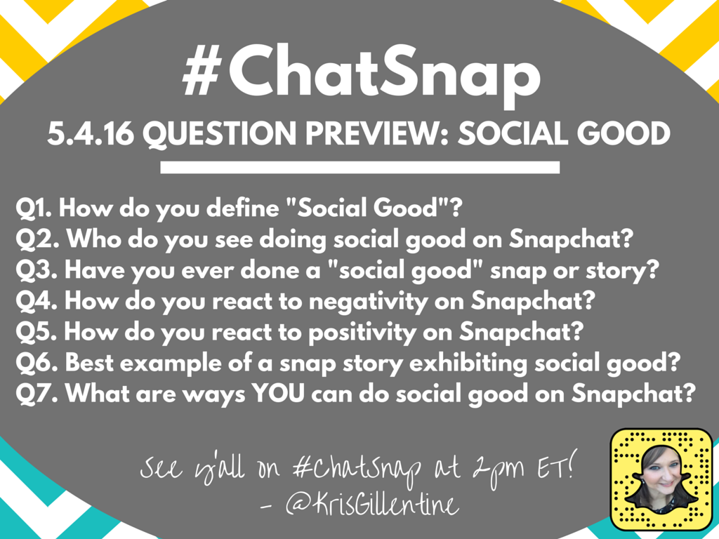 Here's a preview of today's #ChatSnap questions... See y'all at 2pm EDT! https://t.co/ES0xAJJXB5