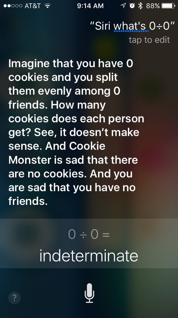 Siri is a bit touchy about indeterminate math questions. https://t.co/ughjT7Y67f