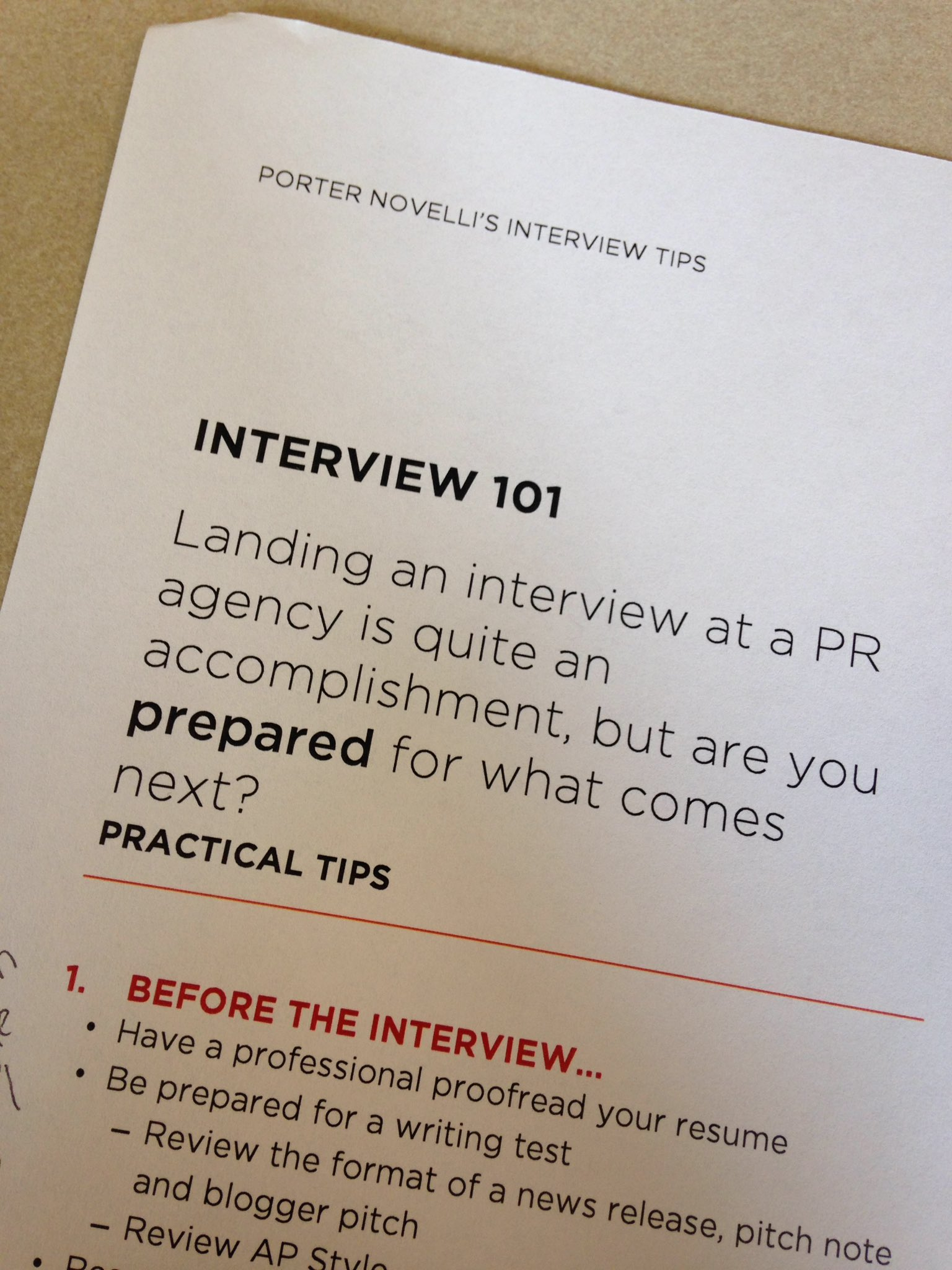 public relations agency writing test
