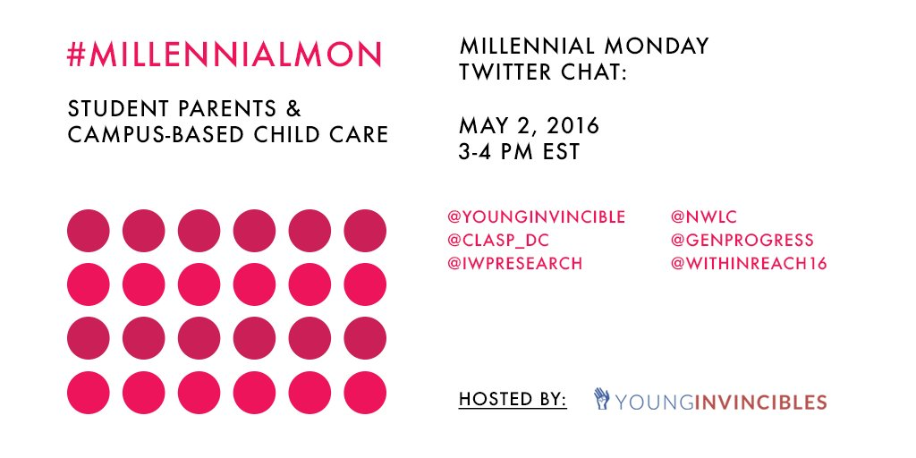 Welcome to #MillennialMon! Today's topic: Student Parents & #OnCampusCare https://t.co/PuZkhfCIlu