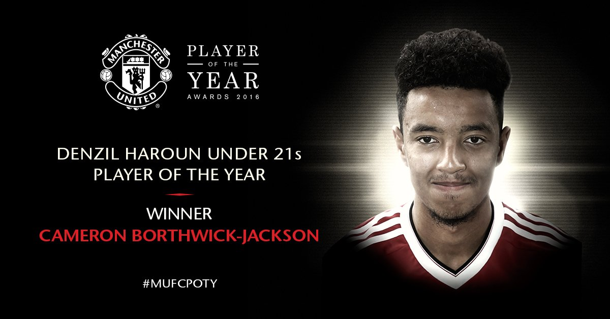 Well done to Cameron Borthwick-Jackson, who you've voted as U21s Player of the Year! #MUFCPOTY