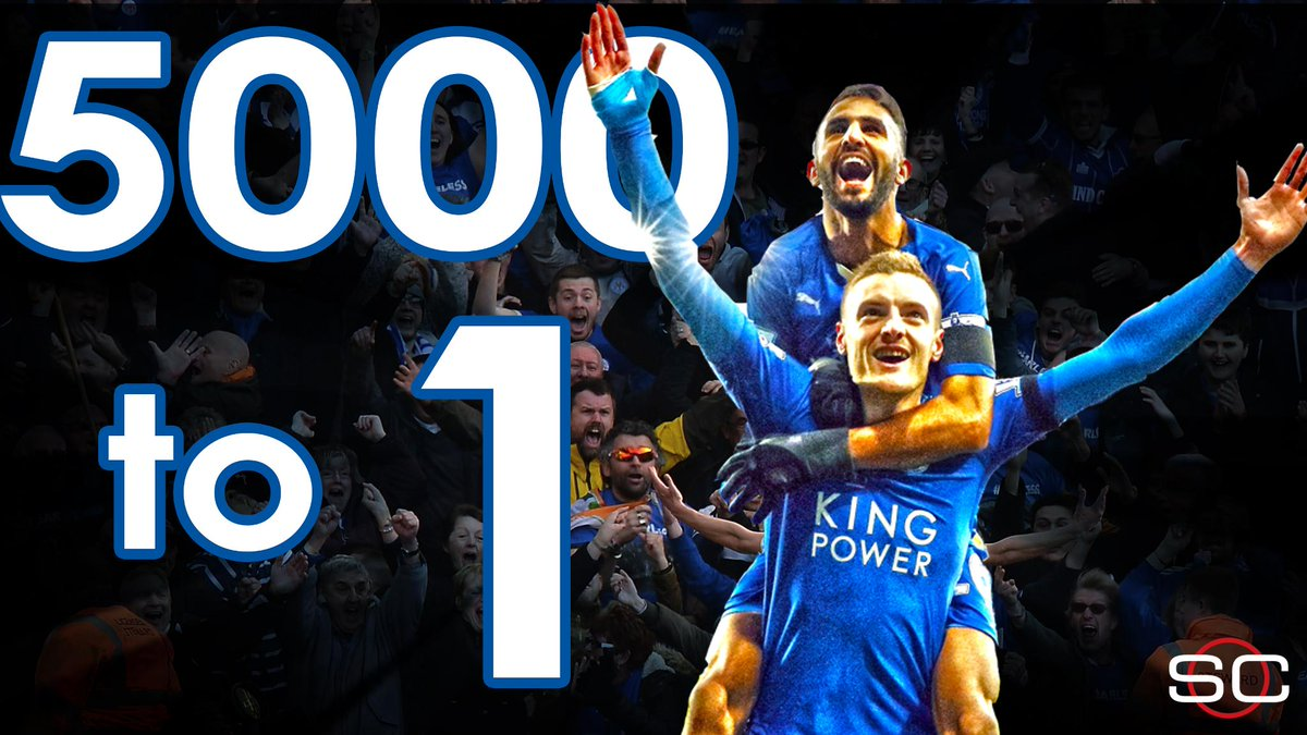 Leicester City had preseason 5000-1 odds to win Premier League. To compare, 76ers were 400-1 to win 2016 NBA title.