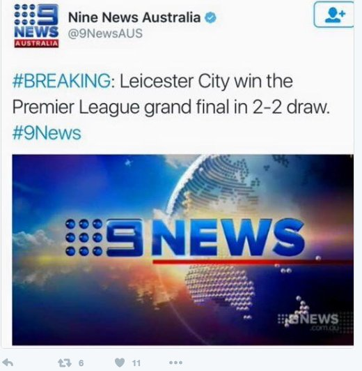 So Leicester win the Grand Final, then, in the correction from @9NewsAUS, Chelsea beat Spurs. Third time lucky?? https://t.co/ieYyAhekue