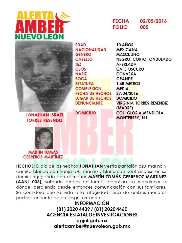 Ayúdanos a localizar a los menores Jonathan Israel Torres, Martín Tomás Cebreros #AlertaAmberNL https://t.co/TgcVr9SQEd