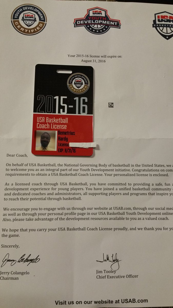 Coach Hardy On Twitter Got My Youth Basketball Certification Card