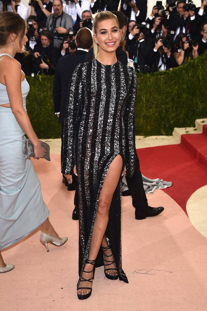 ce608e1d hailey baldwin wore a tommyhilfiger black silver sequin striped dress to  the metgala manusxmachina metball