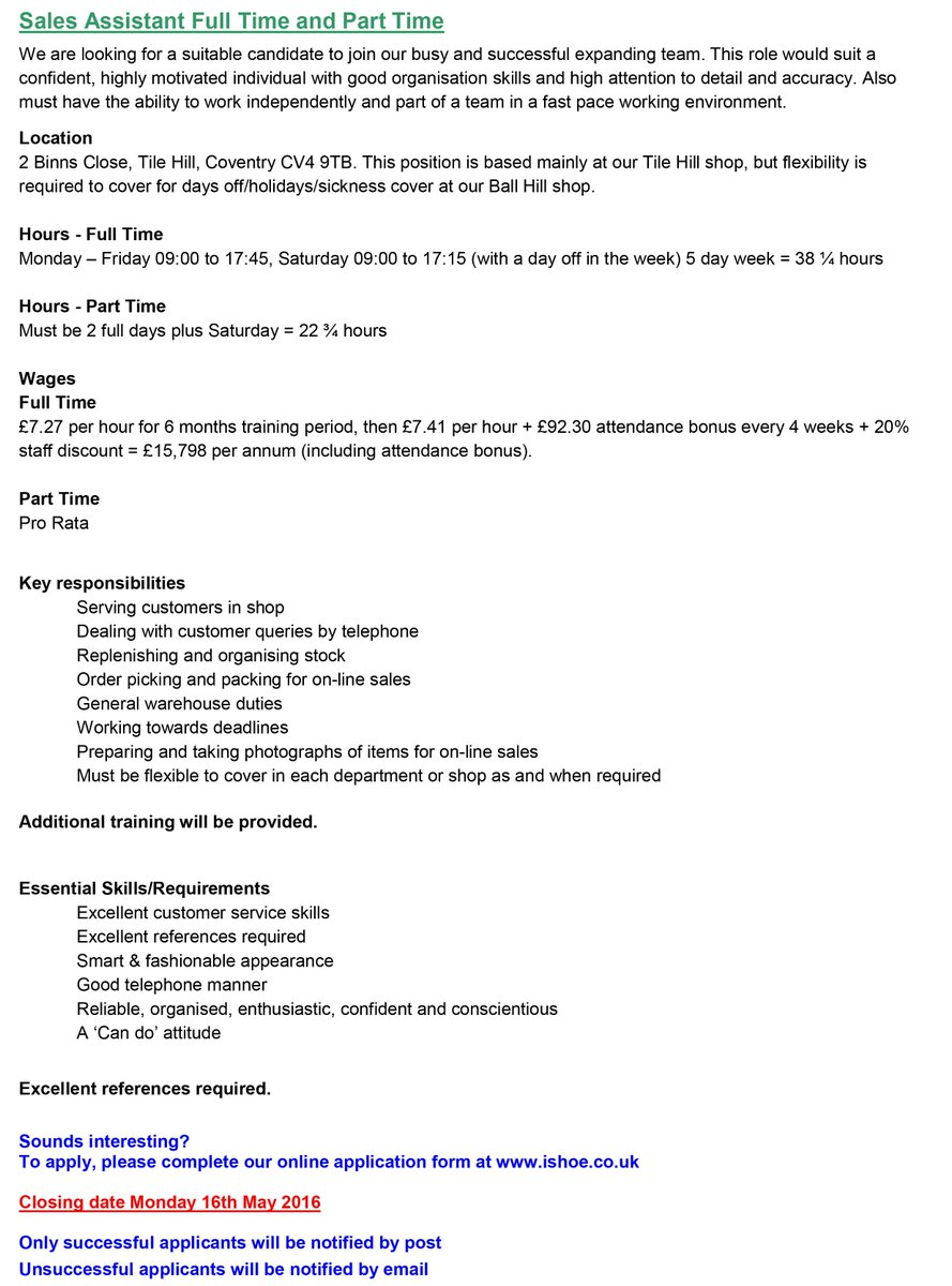 Boss Shoes On Twitter Job Vacancies Full Details Bossshoes Coventry Jobs S Admin Jobvacancy Ishoe