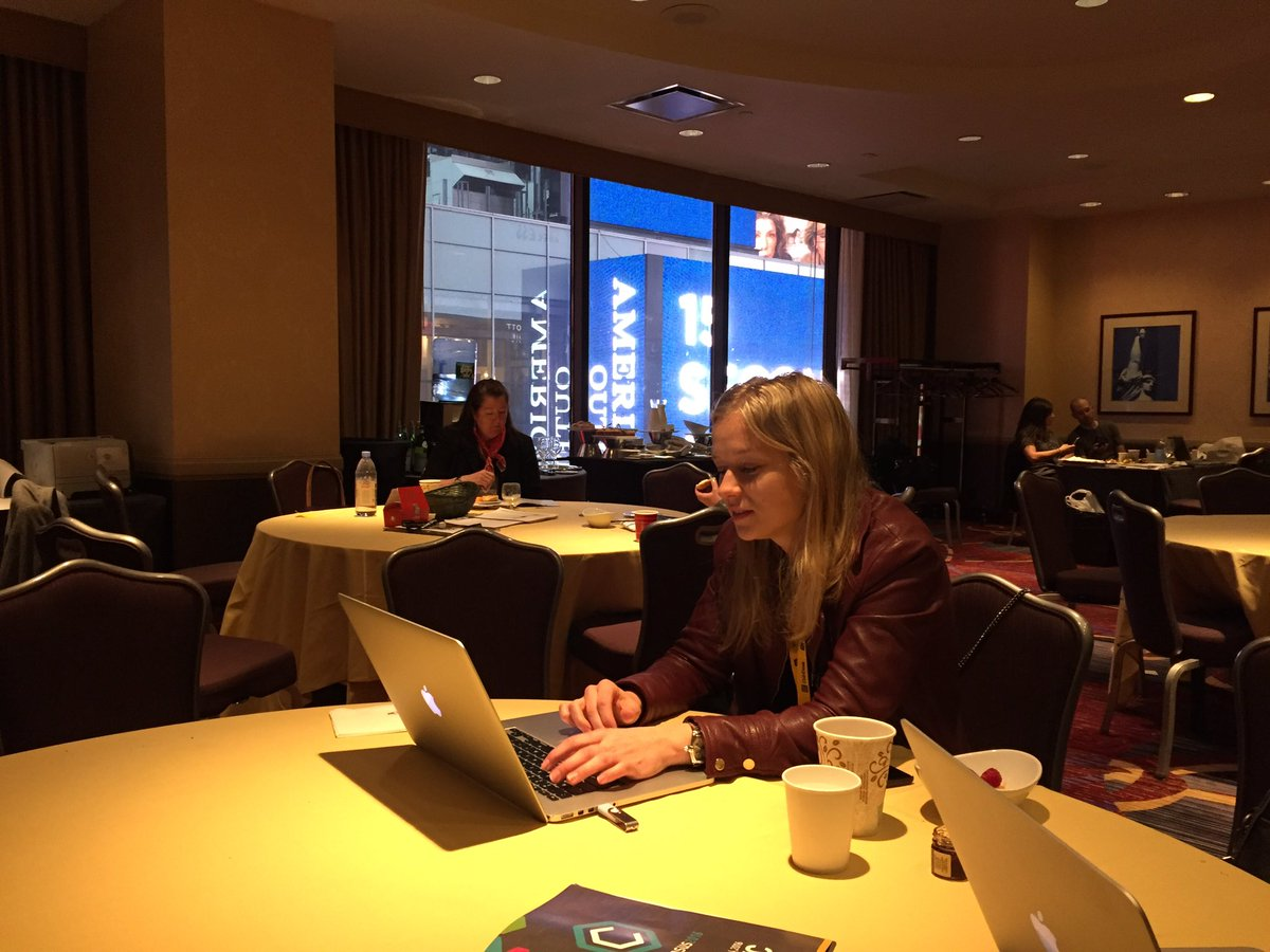 The staff of CoinDesk hard at work preparing for day two of #Consensus2016 https://t.co/N2MklPflSL