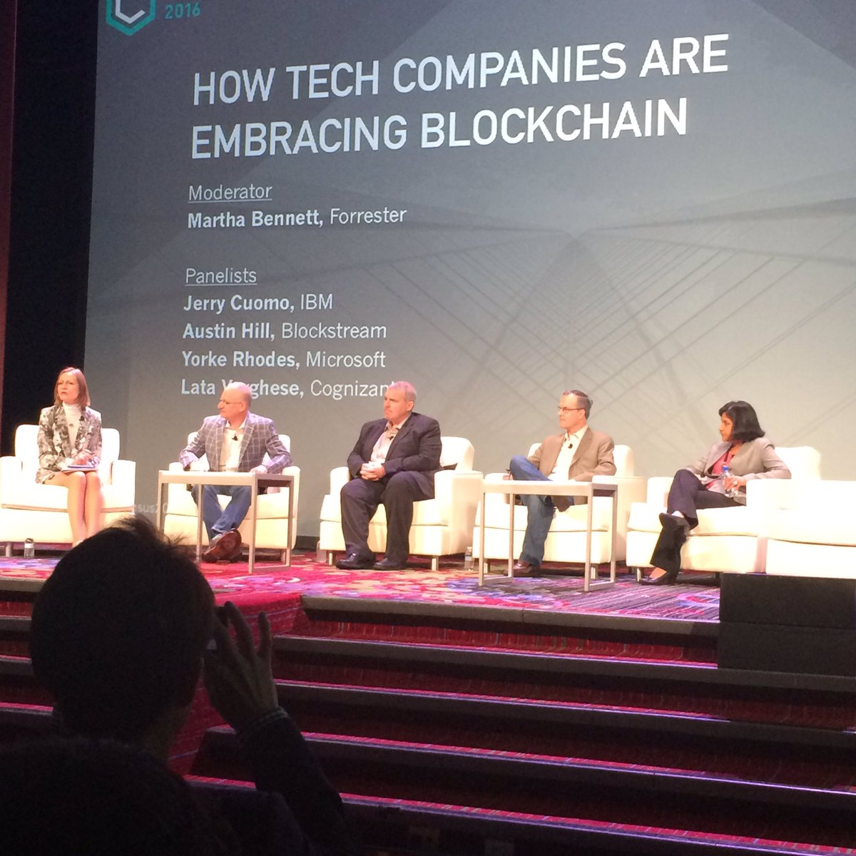 @Cognizant how tech companies are embracing Blockchain @Consensus2016 https://t.co/Zp7LYmsaaT