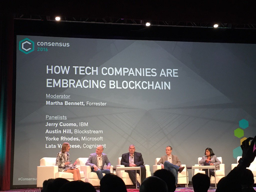 D2 at #Consensus2016. 3 big names on stage that have jumped in the #blockchain game @IBM @Microsoft @Cognizant https://t.co/AQVNqIyJGI