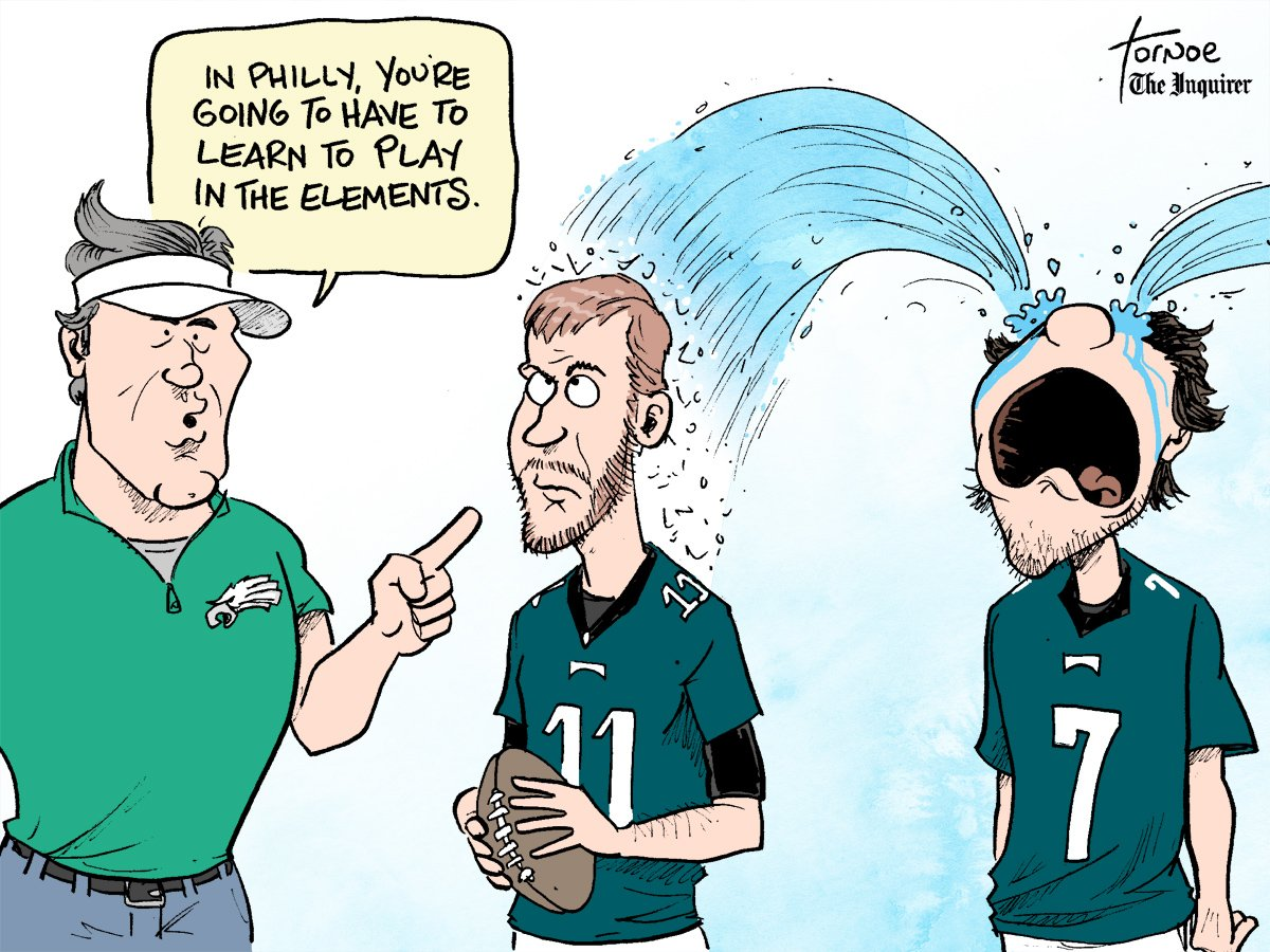 My first (of hopefully what will be many) Carson Wentz toons. Oh, and that Bradford guy.