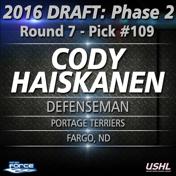 Welcome to the #ForceFamily @Chaisky74! Round 7 pick 109 overall. Fargo, ND kid playing with the Portage Terriers. https://t.co/GzAk64yjyU