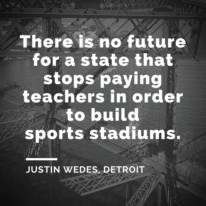 The pet projects of 1% don't offer a future for the 99. Are we brave enough 2 fight 4 better? #DPSSickout #Detroit https://t.co/7CJf6za7AF