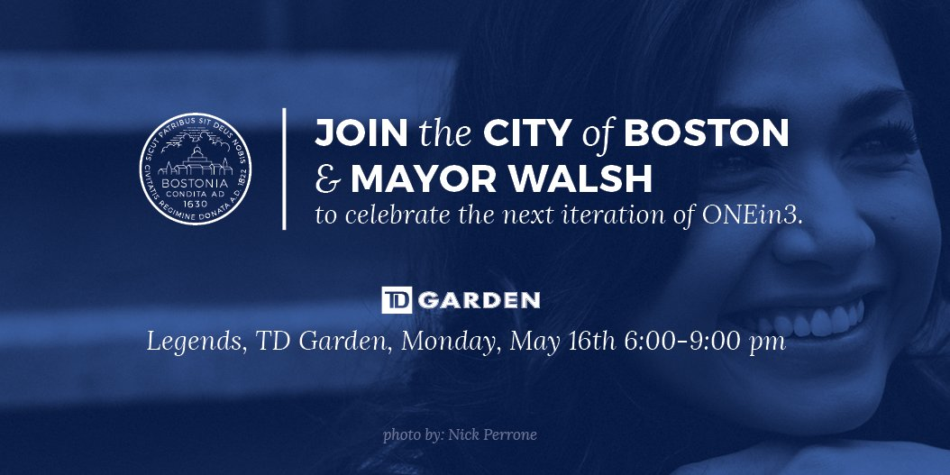 Please join ONEin3 & @marty_walsh for an exciting announcement and celebration at @tdgarden https://t.co/qLjSEU0uOo https://t.co/nQBPdndtWI