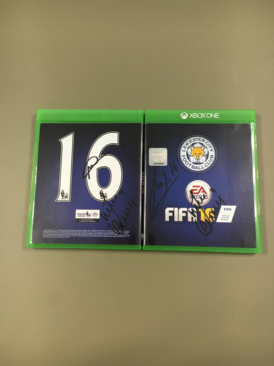 RT for a chance to win a copy of #FIFA16 signed by @LCFC's @premierleague Champions @vardy7/@Mahrez22/Kanté!