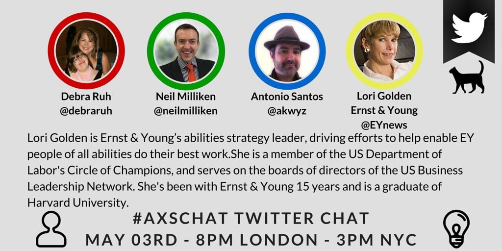 ON NOW (3pmET)! #axschat is talking #accessibility & #inclusion at #work. Follow Qs from @AXSChat to join the convo! https://t.co/MLffs6XR0e